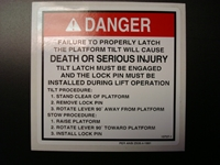 Danger Platform Tilt Decal