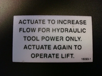 Actuate Increase Flow Decal