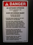 Danger Untrained Operator Risk Decal