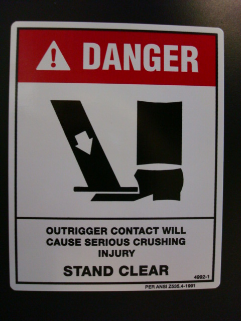 Danger Outrigger Decal