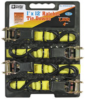 "1"" x 12 Ratchet Tie Downs (4-pack)"