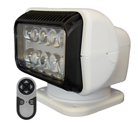 LED PERMANENT MOUNT RADIORAY W/WIRELESS REMOTE - WHITE Lights, lighting, wireless, remote, searchlight, searchlights, mount, mounting, search, light, safety, LED, Halogen, beam, light beam, search & rescue, rescue, search and rescue, CERT, emergency, spotlight, spot light, agriculture, farm, farming, farmer, outdoor, nighttime, outdoor activities, camp, camping, hunting, boating, off-roading, offroading, event lights, event lighting, lighting, fire, police, municipal, tow, towing, plow, plowing, snow plow, truck lights, rv, RV, recreation, recreation vehicle, law enforcement, marine lighting, work vehicle lights, golight, Golight, Golite, golite, radioray, Radioray, radio, ray, vehicle lighting, automotive, heavy equipment, floodlight, flood, light