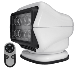 STRYKER - LED Remote Control Searchlight With Wireless Handheld Remote - White 30004 Stryker, Lights, lighting, wireless, remote, searchlight, searchlights, mount, mounting, search, light, safety, LED, Halogen, beam, light beam, search & rescue, rescue, search and rescue, CERT, emergency, spotlight, spot light, agriculture, farm, farming, farmer, outdoor, nighttime, outdoor activities, camp, camping, hunting, boating, off-roading, offroading, event lights, event lighting, lighting, fire, police, municipal, tow, towing, plow, plowing, snow plow, truck lights, rv, RV, recreation, recreation vehicle, law enforcement, marine lighting, work vehicle lights, golight, Golight, Golite, golite, radioray, Radioray, radio, ray, vehicle, truck