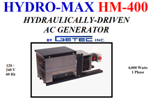 AC Generator / Hydro-Max / Hydraulically-Driven / 4000 Watts / HM-400    ONLY 1 AVAILABLE AC, generator, brushless, pressure, compensating, flow regulator, guaranteed, alignment
