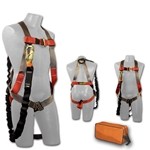 Harness & Lanyard Kit  fall, protection, ansi, osha, approved, bag, all in 1, all-in-one, fully adjustable design, pull-free lanyard rings, lightweight, durable polyester webbing, comfort, dependable, back D-ring, Sub-pelvic strap, mating buckle leg strap, chest and shoulder straps, universal, maximum, working capacity rated